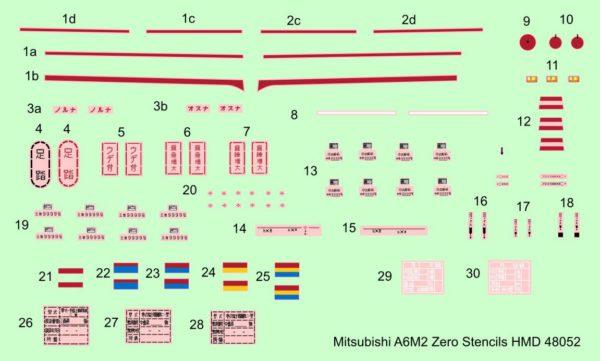 Mitsubishi A6M2 Zero Stencils