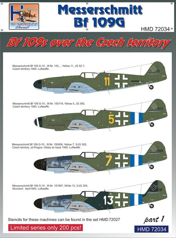 1/72 Bf 109s over the Czech territory Part 1